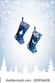 Christmas stocking in blue