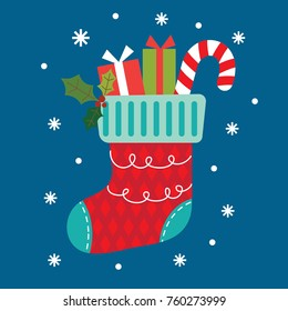Christmas stocking with blue background