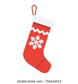 Christmas Stocking flat icon, New year and Christmas, xmas gift sign vector graphics, a colorful solid pattern on a white background, eps 10.