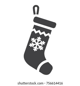Christmas Stocking glyph icon, New year and Christmas, xmas gift sign vector graphics, a solid pattern on a white background, eps 10.