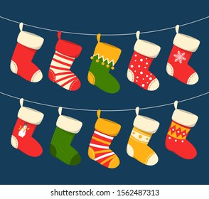Christmas stocking hanging vector isolated. Red and green sock for witner holiday. Home decoration, palce for present.