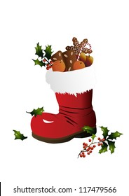 Christmas stocking with holly twig
