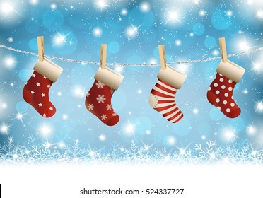 Christmas stocking on winter background