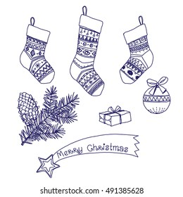 Christmas Stocking. Set of Christmas and New Year pictures, decorative elements. Vector hand-drawn sketch.