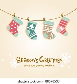 Christmas stockings, cute greeting card