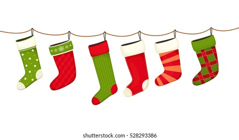 Christmas stockings. Hanging  New year decorations for gifts.