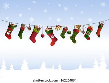 Christmas stockings on a line