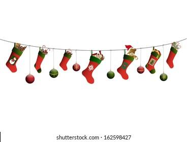 Christmas stockings and christmas ornaments
