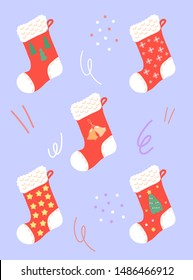 Christmas stockings set. Red stockings with a festive design.Good for festive decor and textiles.