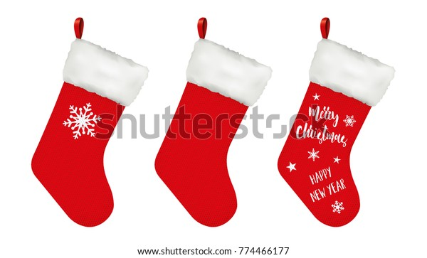 Christmas stockings. Wool texture. Vector design isolated for all backgrounds.