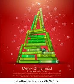 """""""Christmas Stories Collection"""". Christmas tree formed from books. Vector Illustration."""