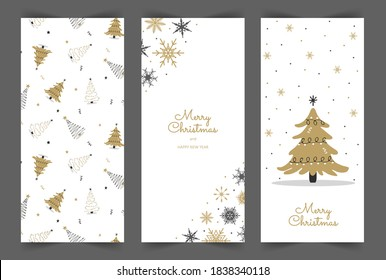 Christmas stories template. Social media vertical backgrounds. New Year design in cute scandinavian style. Christmas tree and snowflakes for the design of their posts.