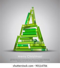 """""""Christmas Stories"""". Christmas tree formed from books. Vector Illustration."""