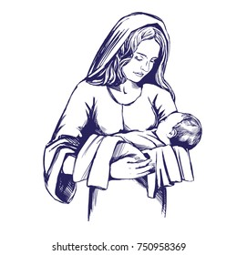 Christmas story. Mary and baby Jesus, Son of God , symbol of Christianity hand drawn vector illustration.
