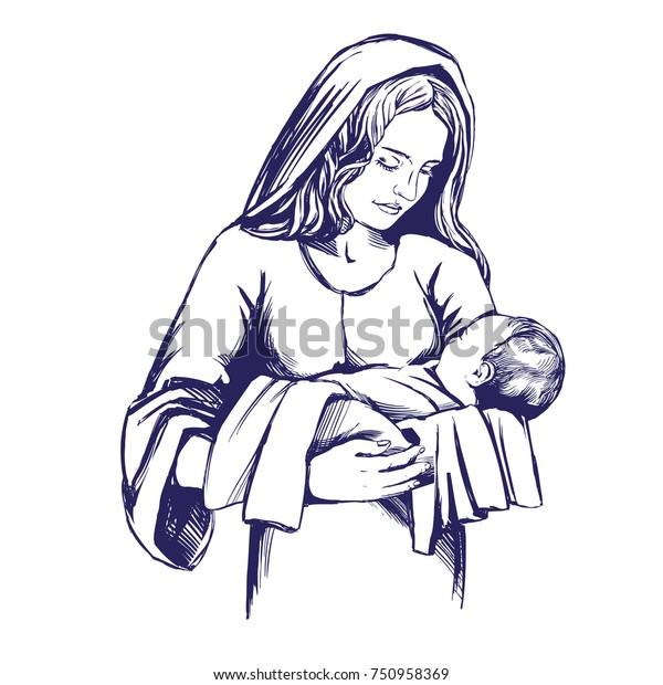 A Christmas Story Logo Vector.Christmas Story Mary Baby Jesus Son Stock Vector Royalty