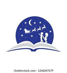 Christmas story. Open book, Kids and Santa Claus sky sledge