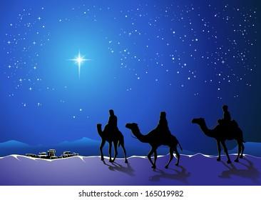 Christmas story. Three wise men go for the star of Bethlehem