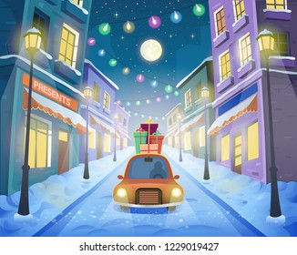 Christmas street of the city with lanterns and a garland with a car and  gifts. Vector illustration in cartoon style.
