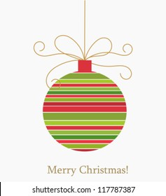 Christmas striped ball. Vector illustration