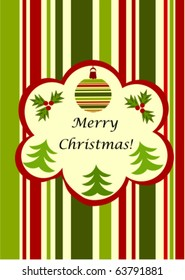 Christmas striped greeting card - green and red with copy space