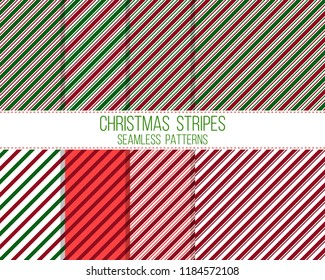 christmas stripes, seamless patterns set
