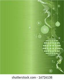Christmas styled green background with christmas ornaments and swirly patterns