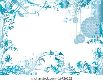 Christmas styled icy blue background pattern with christmas ornaments