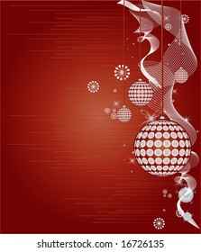 Christmas styled red background with christmas ornaments and swirly patterns
