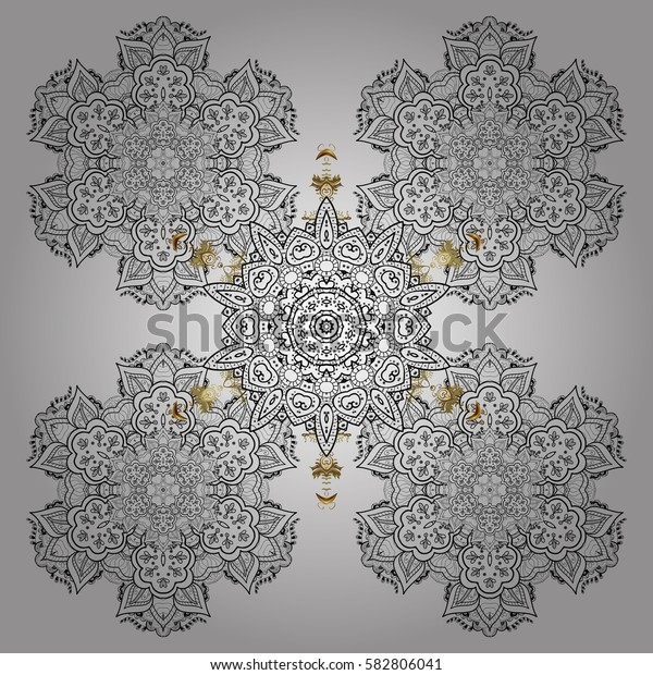 Christmas Stylized white Snowflakes on a White Background. Winter pattern. Vector design.