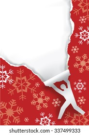 Christmas surprise. Paper male silhouette ripping christmas paper background. Unwrapping gift. Vector.