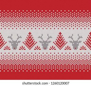 Christmas Sweater Design. Fair Isle Seamless Knitting Pattern