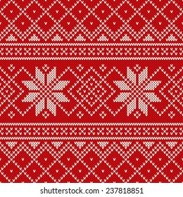 Christmas Sweater Design. Seamless Knitting Pattern