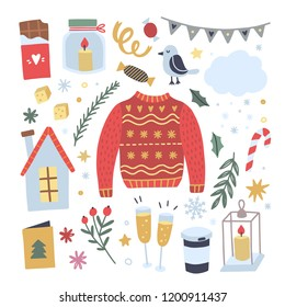 Christmas sweater and other winter lifestyle illustrations. Cozy doodle objects for celebration Xmas and New Year