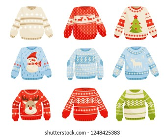 Christmas sweaters set, warm knitted jumper with cute ornaments vector Illustration on a white background
