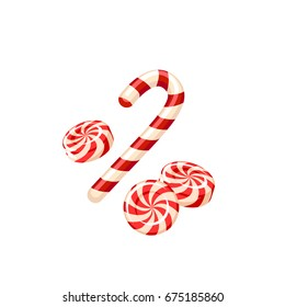 Christmas sweet colorful swirl candy and candycane. Vector illustration flat icon isolated on white.