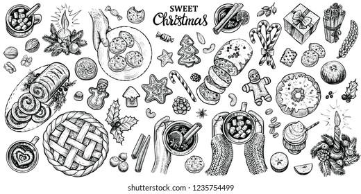 Weihnachten süße Desserts und heiße Getränke. Winternahrung, Draufsicht, handgezeichnete Illustrationen. Saisonale, schwarz-weißer Dekor für Café-Menü, Karten etc.