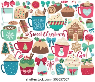 Christmas Sweets and Treats Holiday Vector Design Elements