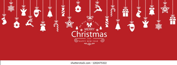 Christmas symbol icons hanging, Merry Christmas, Happy New Year – stock vector