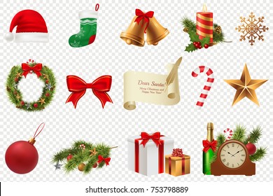 Christmas Symbols big set. Colorful christmas icons isolated on white transparent background. Traditional Xmas attributes. Vector illustration. Eps 10