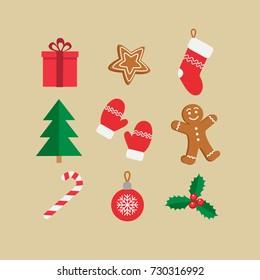 Christmas symbols icon set. Gingerbread man, candy, gift, ball christmas tree, mistletoe,  christmas stockings etc. Vector illustration