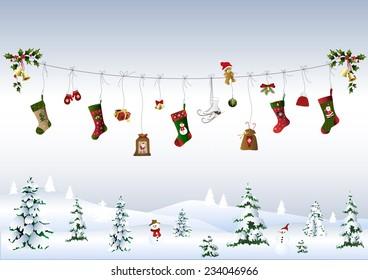 Christmas symbols on a clothes line
