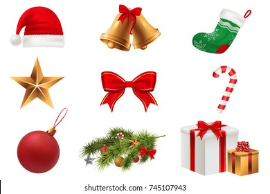 Christmas Symbols set. Colorful christmas icons isolated on white transparent background. Traditional Xmas attributes. Vector illustration. Eps 10