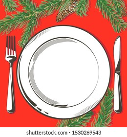Christmas table decorating setting. Vector Festive cutlery set: fork, knife, empty plate on tablecloth with spruce branch. Menu. Top view. Color isolated illustration on red background.