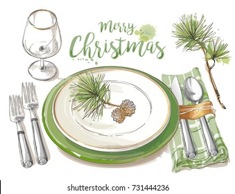 Christmas table decorating setting. Vector Festive cutlery set: forks, knives, spoons, empty plate on cloth napkin. Top view. Watercolor isolated illustration on white background.
