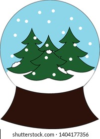 Christmas décor for table depicting the winter season with spruce tree and snow in a glass ball mounted on a sturdy wooden base creates a festive atmosphere, vector, color drawing or illustration.