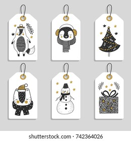 Christmas tags with cute animals and christmas tree. Snowman ,bear and penguin with fox.