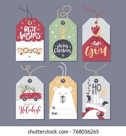 Christmas tags with lettering and hand drawn design elements.