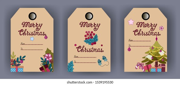 Christmas tags with lollipops, gifts, mittens, Christmas tree. Craft background. Vector illustration.