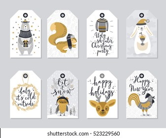 Christmas tags set, hand drawn style. Vector illustration.