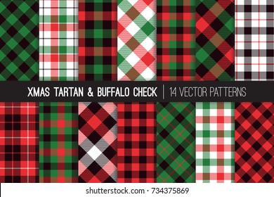 Christmas Tartan and Buffalo Check Plaid Vector Patterns. Hipster Lumberjack Flannel Shirt Fabric Textures. Green, Red, Black and White Xmas Backgrounds. Pattern Tile Swatches Included.